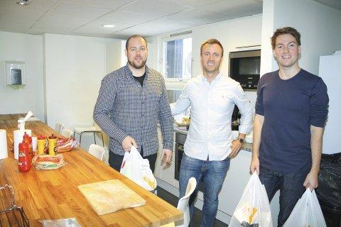 ØKER: Kolonial.no med Tommy Gudmundsen, Vegard Vik og Christian Michalsen bare øker og øker omsetningen. FOTO: KARIN HANSTENSEN