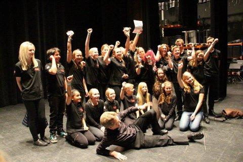 VEL BLÅST: Nordby skolekorps, ledet av dirgent Andreas Karlsen, stakk av med seieren. FOTO: TROND HAGEN