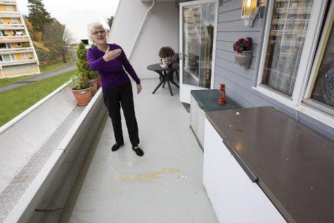 Egg: Pøblene har kastet langt, for mellom bakkeplan og terrassen til Eid, er det to etasjer. – Dårlig oppdragelse, mener hun. FOTO: Bjørn V. Sandness