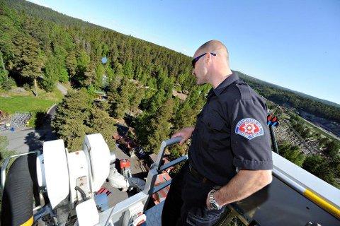Bildet er fra en øvelsen som brannvesenet har hatt på Tusenfryd tidligere.