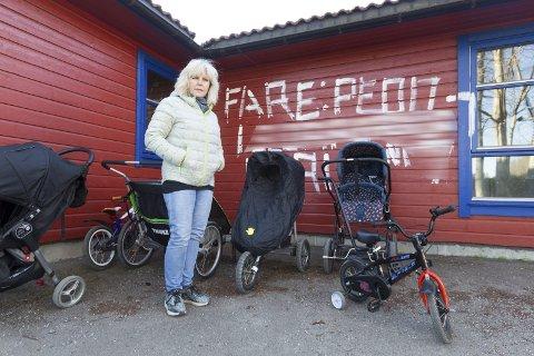 TRIST: Cecilia Zibet Englund kjenner til bakgrunnen til skadeverket, men vil ikke si noe før politiet har gjort sin jobb.FOTO: BJØRN V: SANDNESS