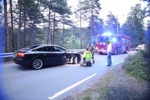 En bil ble presset av veien ved Ingierstrand bad 16.juli.