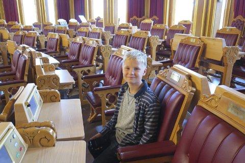 STAS: Daniel i stortingssalen.