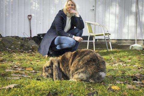 1 Oppdagelsesferd: Pippi liker seg ute i hagen når været er bra, og der er det også mye fristende å spise. Det er ikke noe stas å være alene, så hun vil gjerne ha med matmor Anita Aasbrenn.