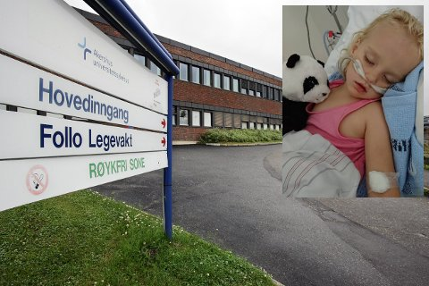 IKKE FORNØYD: Foreldrene til Lilly (3) er ikke fornøyd med behandlingen de fikk hos legevakten i Ski.