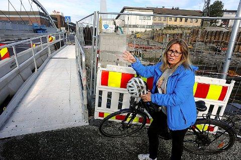 IKKE BRA NOK: Anne Kristine Linnestad (H) er ikke fornøyd med tingenes tilstand på og ved Nordbyveien bro.