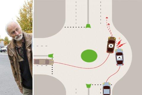 Engasjert: Bjørn Trosdahl har et stort engasjement for å få folk til å bruke blinklys i rundkjøing.