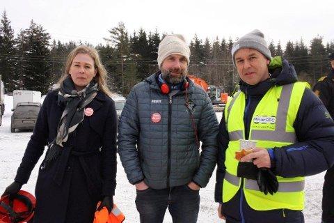 SKUFFET: Linda Nilsen Methi og Paal Sjøvall fra Stopp Støyen, (her sammen med prosjektsjef Paul Torgersen), er skuffet over at ministeren ikke vil møte naboene.