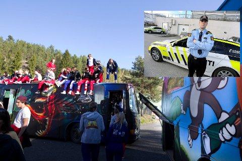 INGEN NÅDE: Kristoffer Haakonsen (innfelt) aksepterer ikke støyende musikk fra russebusser i distriktet. Deler av lydanlegget vil bli tatt med ut av bussen for en kortere periode. Russen på bildet har ingenting med saken å gjøre. Bildet er fra 2014.