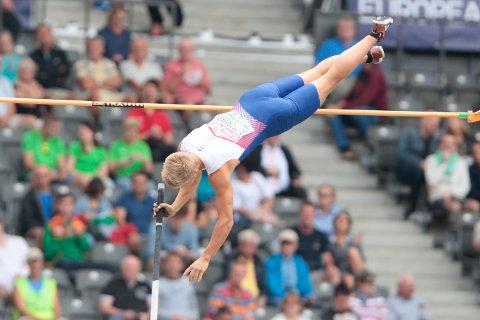 IMPONERTE VOLDSOMT: Sondre Guttormsen hoppet 5.75 under EM-finalen i Berlin. Det er ny norsk rekord EM-finale i Berlin i dette øyeblikk.