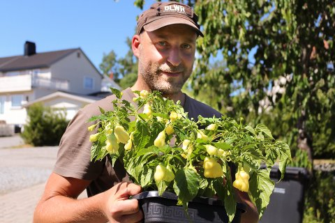 ENTUSIAST: Henrik Jorde fra Ski er vår lokale chili-ekspert, og satser alt på det sterke produktet. Det liker kundene også.
