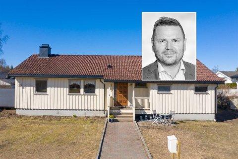 SOLGT: Eneboligen i Finstadsvingen hadde prisantydning på 7. 250. 000 kroner, men ble til slutt solgt for 8,3 mill.  Brynjar Netskar (innfelt) mener attraktiv beliggenhet var utslagsgivende.
