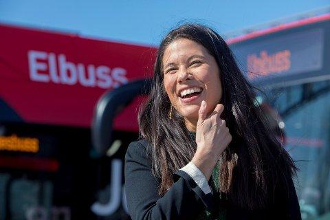FORNØYD: Byråd for miljø og samferdsel Lan Marie Berg (i permisjon) er fornøyd med storsatsingen på elbusser.