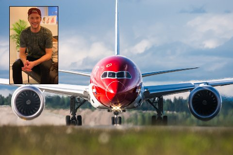 INNSTILT: Slik ble flyet stående - uten å ta av, fortell Markus Aspen (innfelt). Det kan skje med flere av sisteflyene fra Gardermoen til Tromsø denne sommeren.
