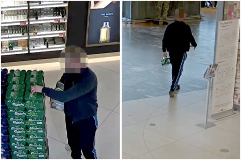 TATT PÅ FERSKEN: I det ene sekundet lemper tyven armene full med øl og varer fra Tax-free-butikken, før han går rett ut i avgangshallen – uten å betale for seg.