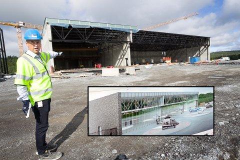 HANGARER: Prosjektsjef Paul Torgersen mener prosjektet er i rute. - På dette prosjektet bruker vi halvparten av tiden som er normalt.