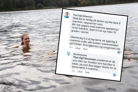 BADENYMFER: Melissa Kristiansen hoppet i Tusse for ØB. Nå reagerer hun på Facebook-kommentaren fra Ski kommune om samme sak (innfelt).