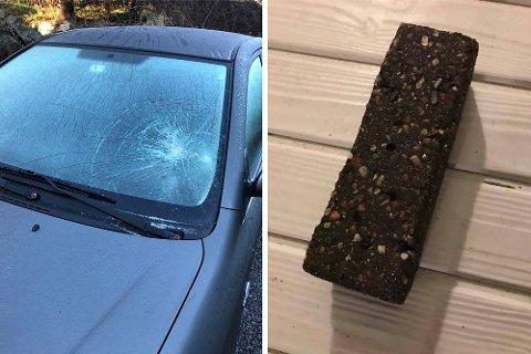 HÆRVERK: Til venstre ser du Anita Hovinds bil etter at frontruten ble knust. Til høyre kantsteinen som ble kastet inn på naboens veranda.