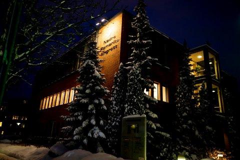 2019.01.31. 01. Lillestrøm. Nedre Romerike tingrett. Tingretten. Vinter. Mørkt.