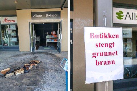 En forbrent skoeske ligger utenfor butikken etter brannen på Oslo Fashion Outlet i august. Nå viser det seg at det var mye mer enn bare skoesken som tok skade av brannen.