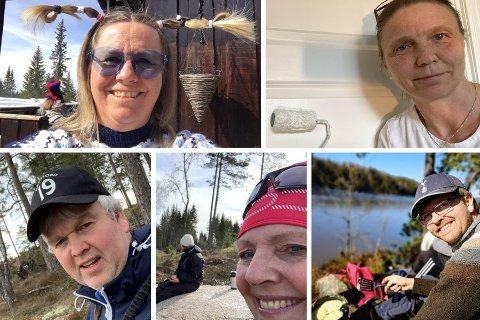 (Med klokken fra venstre): Anne Kristine Linnestad (H), Camilla Hille (V), Tønnes Steenersen (Frp), Hanne Opdan (Ap) og Hans Martin Enger (MDG) har alle tilbragt påsken på en annen måte enn vanlig.