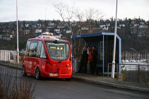 Ruter har tidligere testet selvkjørende busser i Oslo, som på dette bildet tatt fra Malmøya. Nå kommer de til Ski.