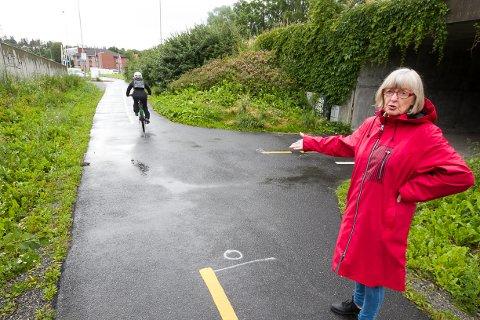 FART: Grethe Børstad mener syklistene må lære seg å bruke ringeklokken når de kommer susende. - De må også slakke på farten, sier hun i det en syklist kommer i høy fart forbi.