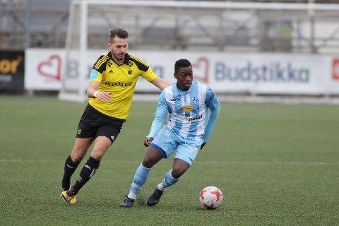 Solomon Owusu i aksjon for Follo mot Bærum i 2017. Nå er han klar for spill i eliteserien.