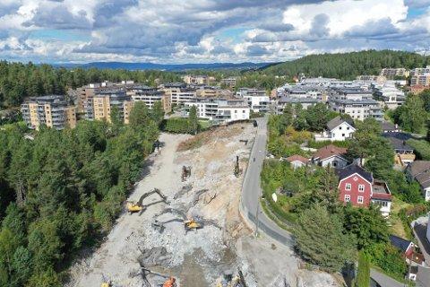 STORT: Tomten er på 10 mål og innbefattet i utgangspunktet 11 eiendommer. Bildet er tatt i fjor sommer. Foto: Bjørn Sandness