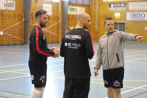 IKKE MER HÅNDBALL: Martin Lysdal Hansen (t.v.) skal kun konsentrere seg om trenergjerningen når han kommer hjem til Danmark. Her sammen med Mats Julius Haakenstad (midten) og Axel Reimbladh.