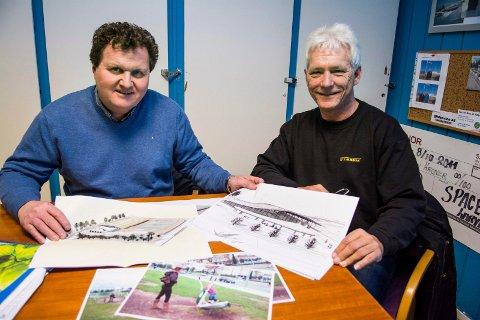 Tom Skaara og Geir Anton Haga jobber videre med planene for en mer kompakt idrettspark med hall på Lovisenlund. Arkivfoto.
