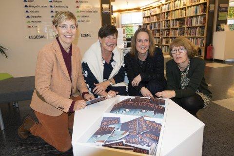 Full uke: Anne L. Labori, Mette Gjerdrum, Benedikte Gjone og Helga Frengstad ved biblioteket har fullt opp med litterære arrangementer til uken.foto: Per Albrigtsen