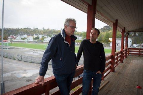 SOLGT: Styreleder i Fram, Steinar Nyland (venstre) og daglig leder Rune Holst Bloch har solgt skøytetomten for å kunne finansiere oppgraderingen av andre anlegg.