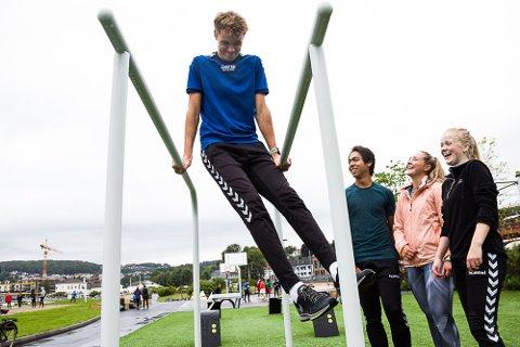 Sprek gjeng: Jørgen Haga (f.v.) illustrerer en av de mange aktivitetene man kan gjøre i Indre havn. Ved siden av står Steven Bergren, Wilde Karlsen og Ingunn Larsen, alle fra idrettslinja ved Thor Heyerdahl vgs.
