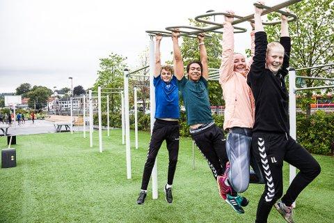 Populært aktivitetsområde: Elevene Jørgen Haga (f.v.), Steven Bergren, Wilde Karlsen og Ingunn Larsen sier at Indre havn har blitt en enda mer attraktiv plass å være for ungdom.