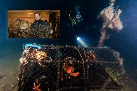 MANGE I FJORDEN: Mikkel Melsom og de andre dykkerne fant flere teiner under dykket i Larviksfjorden denne uka.