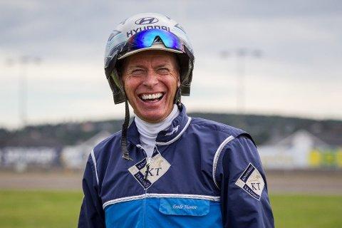 STORTALENT: Frode Hamre kan smile etter at stortalentet Giveitgasandgo er invitert til Olympiatravet, med 1,5 millioner i førstepremie.  Foto: Eirik Stenhaug, Equus media