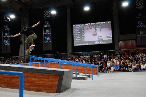 BLE HISTORISK: Hermann Stene (25) fra Larvik ble historisk i X Games da han skatet som den aller første norske finalisten i streetskate-øvelsen noen sinne søndag kveld