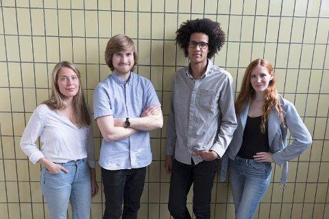 Spillelista: Denne gjengen har premiere på nytt show 19. juli i Munkens gamle kinosal. F.v. Hedda Aronssen, Magnus Brekke Aalbu, Christian Roger Beharie og Liv Neslowe.