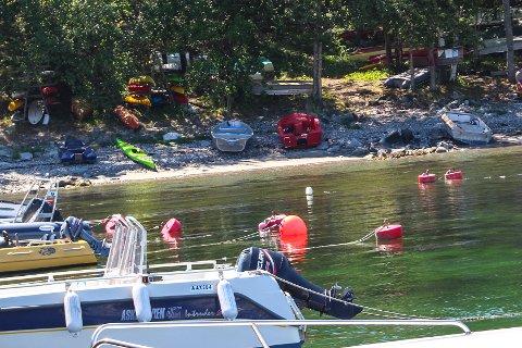 Frastjålet: Syv påhengsmotorer ble stjålet fra Ranvika i Tjølling natt til tirsdag. Mye tyder på at tyveriet var planlagt. Politiet har vært på stedet.