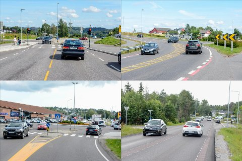 ULYKKESPUNKTER: På disse fire stedene smeller det hyppig i larvikstrafikken. Rundkjøringen på Øya og ved Nordbyen/Vestmarkveien, Ringdalkrysset på gamle E18 og ved avkjøringen til Holmejordet på Stavernsveien.