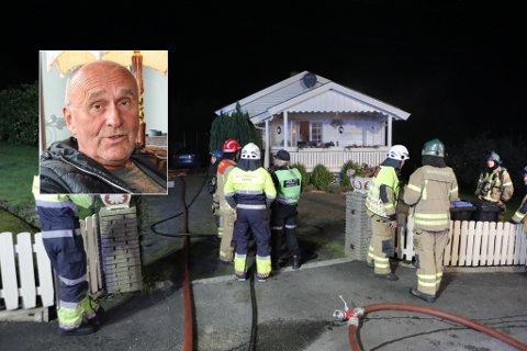 BRANN: Lørdag kveld tok det fyr i kjelleren i et hus på Farriseidet. Huset er eid av Øyvind Riise Jenssen (innfelt).