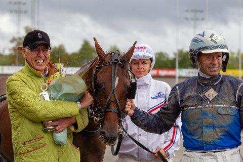 OVERRASKET: Calina vant i Paris mandag. Her fra da Frode Hamre vant VG Norsk Travderby hoppeavdeling - Klasseløp på Bjerke travbane i 2018.
