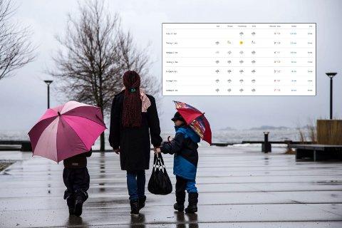 VÅTT OG GRÅTT: Vi går en grå og regntung uke i møte i Larvik.
