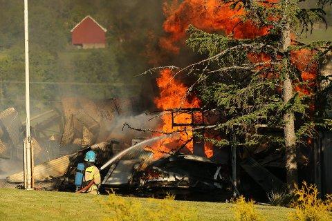 NEDBRENT: En låve tok fyr i Sandefjord søndag morgen. Den brant ned til grunnen.