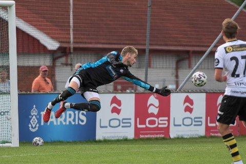 Dagens mann: Anders Klemensson sto en strålende kamp da Fram spilte 1-1 mot Kjelsås på fremmed gress lørdag ettermiddag. Porsgrunnsgutten vartet opp med flere klasseredninger mot gutta fra hovedstaden.