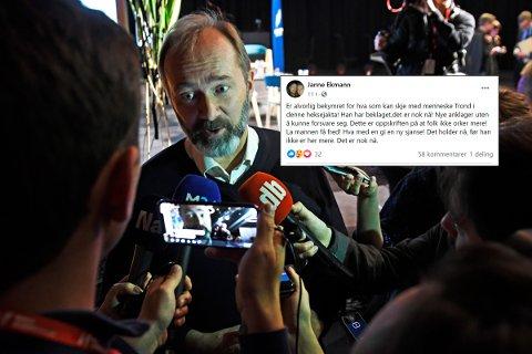 GISKE-STØTTE: Ap-politiker Janne Ekmann skriver på Facebook at hun oppfatter det som nå skjer rundt Trond Giske som en heksejakt.