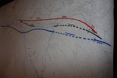 TRE ALTERNATIVER: Statens vegvesen har skissert tre ulike løsninger for riksveg 3 fra Tunna Bru (til høyre) og nær fem kilometer opp til Storåsen (til venstre).