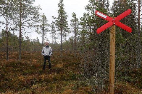HER:  – Her går lden over vegen min til min eiendom. Jeg føler meg overkjørt av Åsnes kommune i denne saken, sier Willy Faldaas, bosatt på Hamar, eier av finnetorpet Lensmannsknappen.