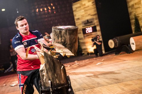 Vebjorn Sonsteby of Norway performs in the Standing Block Chop discipline during the qualifying of the Stihl Timbersports World Championships at the Porsche-Arena in Stuttgart, Germany on November 10, 2016.